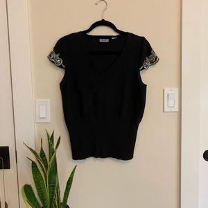 Vintage Silk & Cashmere Embellished Sweater